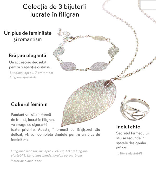 Colectie Yves Rocher de 3 bijuterii lucrate in filigran