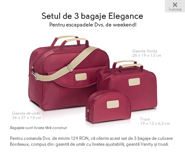 Cadou Yves Rocher: setul de 3 bagaje Elegance Bordeaux