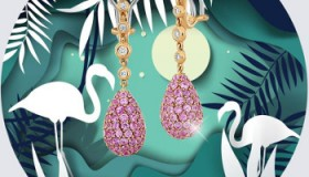 Exquisite Diamonds: cerceii din aur de 18k decorati cu diamante si safire