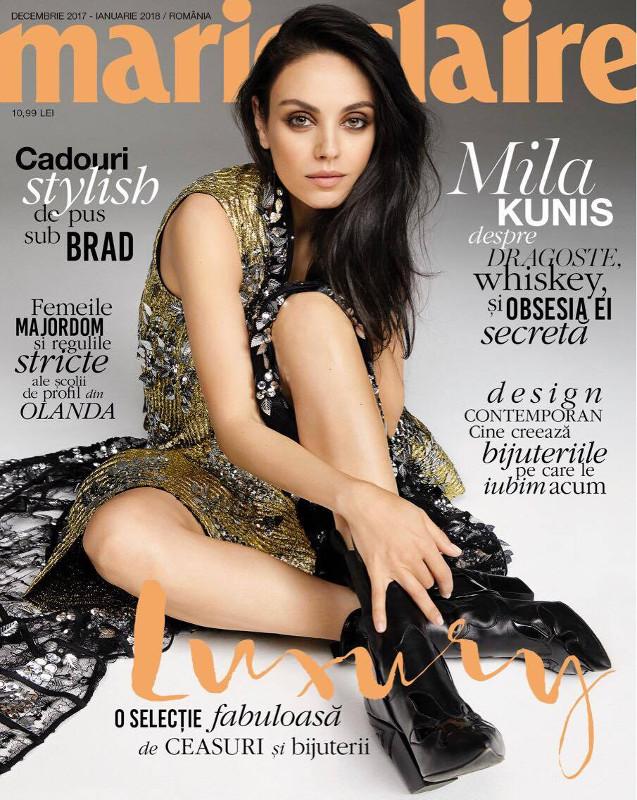 Marie Claire Magazine Romania ~~  Coperta: Mila Kunis ~~ Decembrie 2017 - Ianuarie 2018