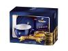 Tchibo Exclusive ~~ Ceasca cu farfurioara albastre cu imprimeu boaba de cafea aurie