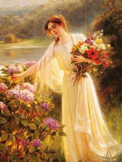 Femeia si florile