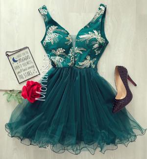 Rochie eleganta de seara verde inchis din tul si corset cu broderie