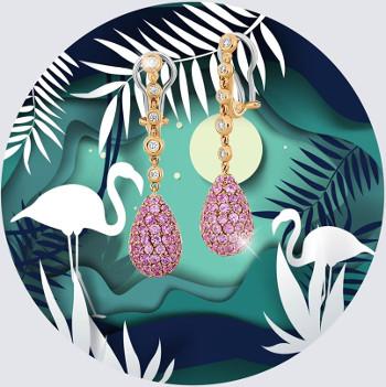 Exquisite Diamonds: cerceii din aur de 18k decorati cu diamante si safire